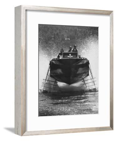 Canadian Navy Hydrofoil Boat, on the Test Run-Peter Stackpole-Framed Photographic Print