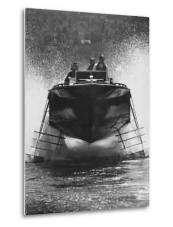 Canadian Navy Hydrofoil Boat, on the Test Run-Peter Stackpole-Metal Print