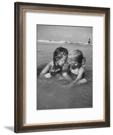 Little Girls Playing Together on a Beach-Lisa Larsen-Framed Photographic Print