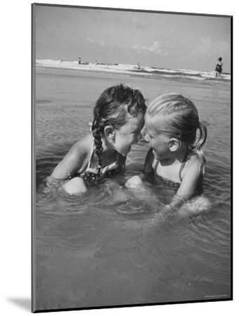Little Girls Playing Together on a Beach-Lisa Larsen-Mounted Photographic Print