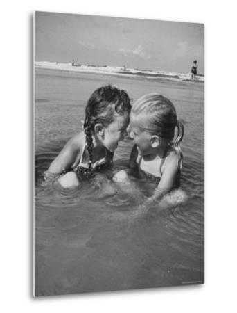 Little Girls Playing Together on a Beach-Lisa Larsen-Metal Print