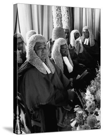 Judges Waiting to Meet Queen Elizabeth II-James Burke-Stretched Canvas Print
