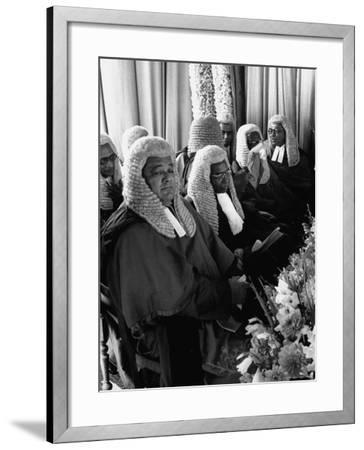 Judges Waiting to Meet Queen Elizabeth II-James Burke-Framed Photographic Print