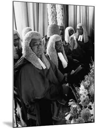 Judges Waiting to Meet Queen Elizabeth II-James Burke-Mounted Photographic Print