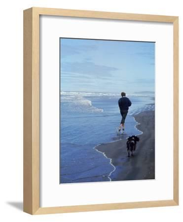 Presidential Candidate Bobby Kennedy and His Dog, Freckles, Running on an Oregon Beach-Bill Eppridge-Framed Photographic Print