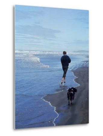 Presidential Candidate Bobby Kennedy and His Dog, Freckles, Running on an Oregon Beach-Bill Eppridge-Metal Print