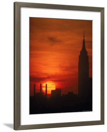 Sunset View with the Empire State Building-Alfred Eisenstaedt-Framed Photographic Print