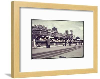 People Shopping at Book and Print Stalls Along the Seine River-William Vandivert-Framed Photographic Print