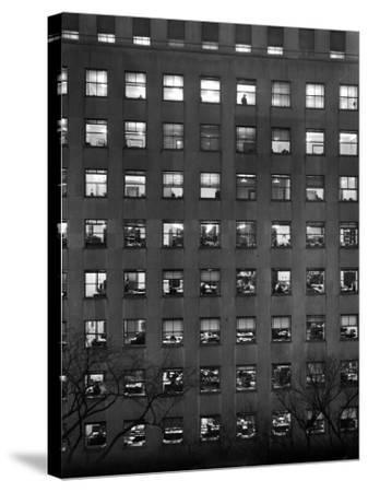 The Pattern of Lighted Office Windows in the RFC Building-Walter B. Lane-Stretched Canvas Print
