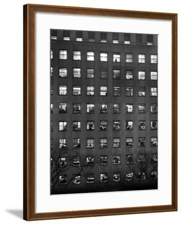 The Pattern of Lighted Office Windows in the RFC Building-Walter B. Lane-Framed Photographic Print