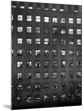The Pattern of Lighted Office Windows in the RFC Building-Walter B. Lane-Mounted Photographic Print