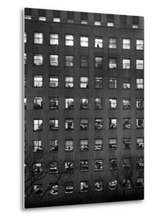 The Pattern of Lighted Office Windows in the RFC Building-Walter B. Lane-Metal Print