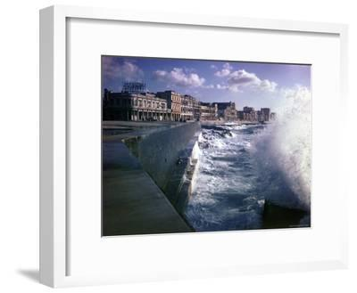 Wave Crashing Against a Breakwater Along the Malecon, a Waterfront Boulevard-Eliot Elisofon-Framed Photographic Print