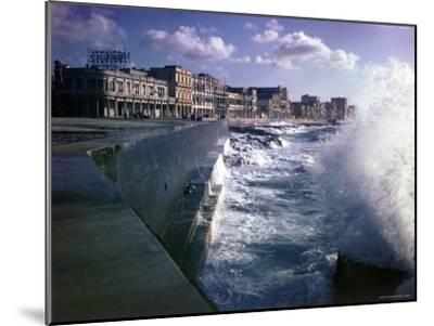 Wave Crashing Against a Breakwater Along the Malecon, a Waterfront Boulevard-Eliot Elisofon-Mounted Photographic Print