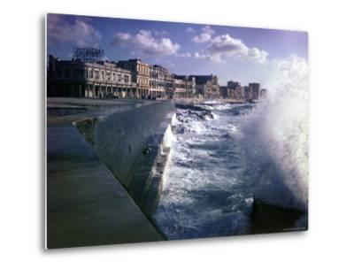 Wave Crashing Against a Breakwater Along the Malecon, a Waterfront Boulevard-Eliot Elisofon-Metal Print