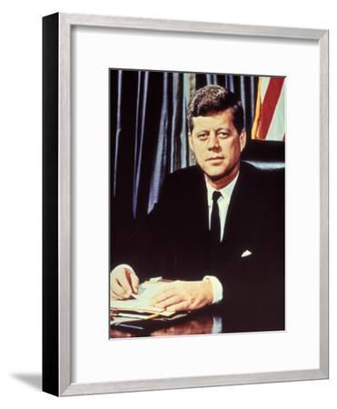 "Portrait of President John F. Kennedy, from the TV Show, ""JFK Assassination as It Happened""-Alfred Eisenstaedt-Framed Photographic Print"