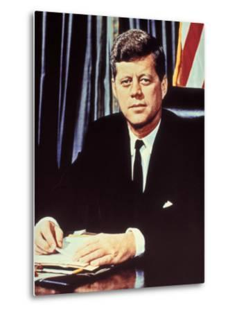 "Portrait of President John F. Kennedy, from the TV Show, ""JFK Assassination as It Happened""-Alfred Eisenstaedt-Metal Print"