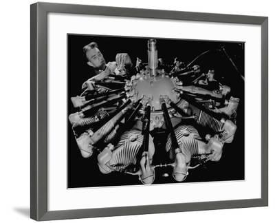 Man Working on Construction of an Aircraft Engine-Carl Mydans-Framed Photographic Print