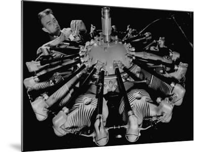 Man Working on Construction of an Aircraft Engine-Carl Mydans-Mounted Photographic Print
