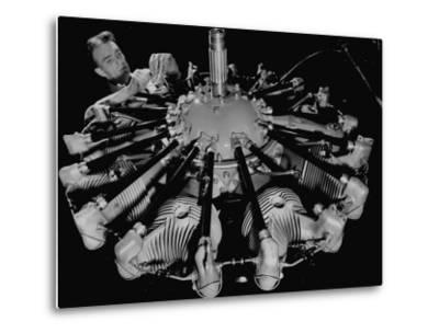 Man Working on Construction of an Aircraft Engine-Carl Mydans-Metal Print
