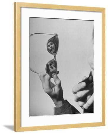 Model Lilly Fernandez Using Sunglasses as a Mirror-Martha Holmes-Framed Photographic Print