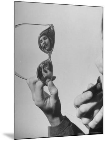 Model Lilly Fernandez Using Sunglasses as a Mirror-Martha Holmes-Mounted Photographic Print