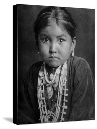 Portrait of Small Girl in Costume, Who is Native American Navajo Princess-Emil Otto Hopp?-Stretched Canvas Print