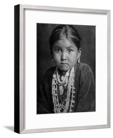 Portrait of Small Girl in Costume, Who is Native American Navajo Princess-Emil Otto Hopp?-Framed Photographic Print