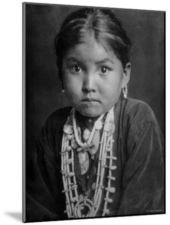 Portrait of Small Girl in Costume, Who is Native American Navajo Princess-Emil Otto Hopp?-Mounted Photographic Print