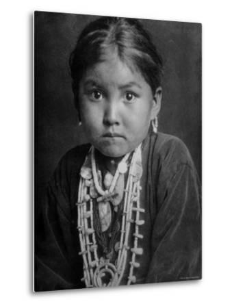 Portrait of Small Girl in Costume, Who is Native American Navajo Princess-Emil Otto Hopp?-Metal Print