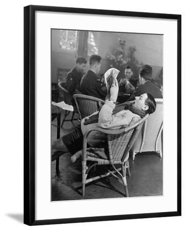 RAF Pilots Relaxing at a Rehabilitation Center-Hans Wild-Framed Photographic Print