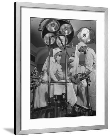 Patient Being Treated in Hospital Facilities at Kaiser's Permanente Foundation-J^ R^ Eyerman-Framed Photographic Print