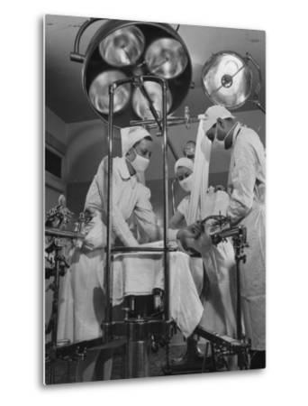 Patient Being Treated in Hospital Facilities at Kaiser's Permanente Foundation-J^ R^ Eyerman-Metal Print