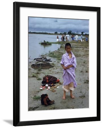 Tibetan Refugees on Beach at Misamari Camp-John Dominis-Framed Photographic Print