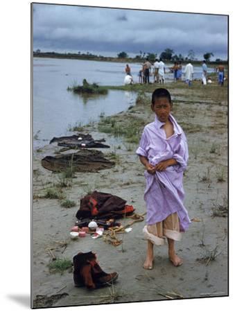 Tibetan Refugees on Beach at Misamari Camp-John Dominis-Mounted Photographic Print