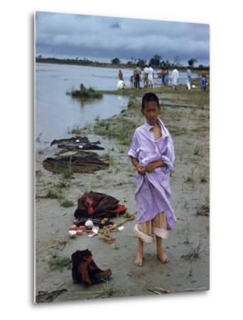 Tibetan Refugees on Beach at Misamari Camp-John Dominis-Metal Print