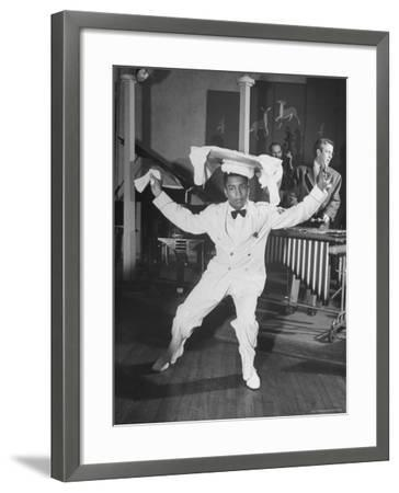 Waiter Dancing with a Tray on His Head-Wallace Kirkland-Framed Photographic Print