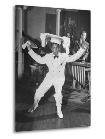 Waiter Dancing with a Tray on His Head-Wallace Kirkland-Metal Print