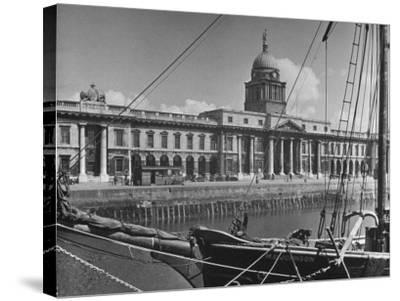 View of the Customs House in Dublin-Hans Wild-Stretched Canvas Print