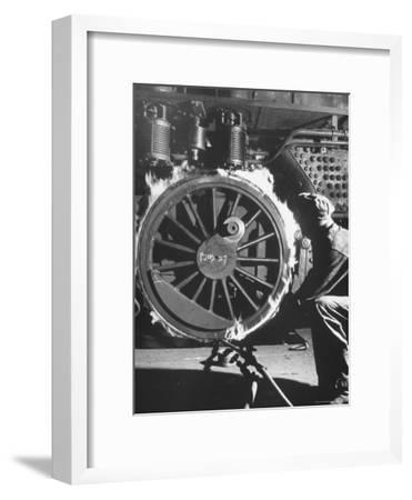 Welder with an Acetylene Torch Cutting Through Some of the Old Tubes in a Modern Locomotive-Thomas D^ Mcavoy-Framed Photographic Print