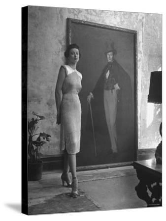 View of a Harper and Vogue Model in Designer Clothes-Nina Leen-Stretched Canvas Print