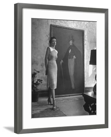 View of a Harper and Vogue Model in Designer Clothes-Nina Leen-Framed Photographic Print