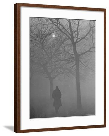 Man Walking Through Hyde Park in the Fog-Mark Kauffman-Framed Photographic Print