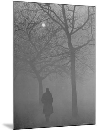 Man Walking Through Hyde Park in the Fog-Mark Kauffman-Mounted Photographic Print