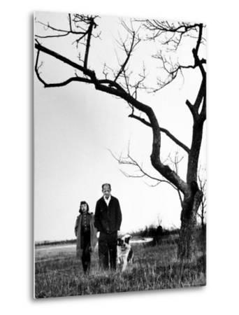 Painter Jackson Pollock Walking in Field with Wife Lee Krasner-Martha Holmes-Metal Print