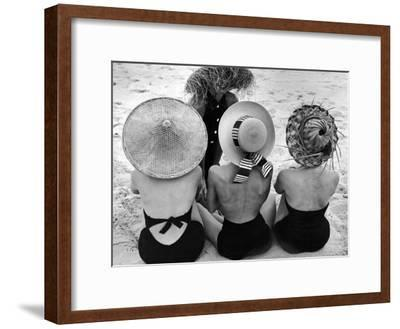 Models on Beach Wearing Different Designs of Straw Hats-Nina Leen-Framed Photographic Print