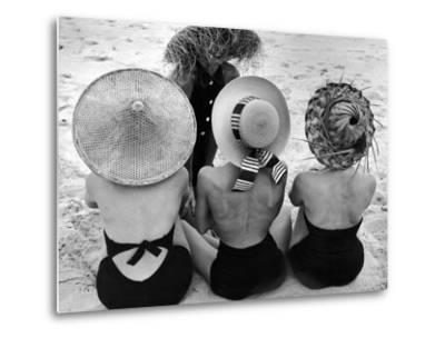 Models on Beach Wearing Different Designs of Straw Hats-Nina Leen-Metal Print