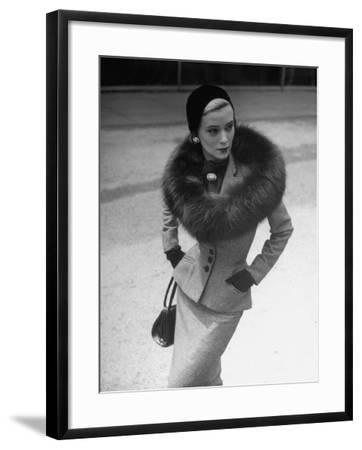 Model Wearing Tweed Suit, Fox Circle and Brooch-Nina Leen-Framed Photographic Print