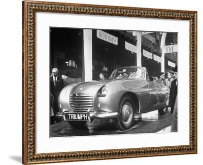 The British Triumph Roadster at the Paris Auto Show-Gordon Parks-Framed Photographic Print
