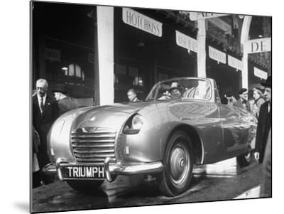 The British Triumph Roadster at the Paris Auto Show-Gordon Parks-Mounted Photographic Print
